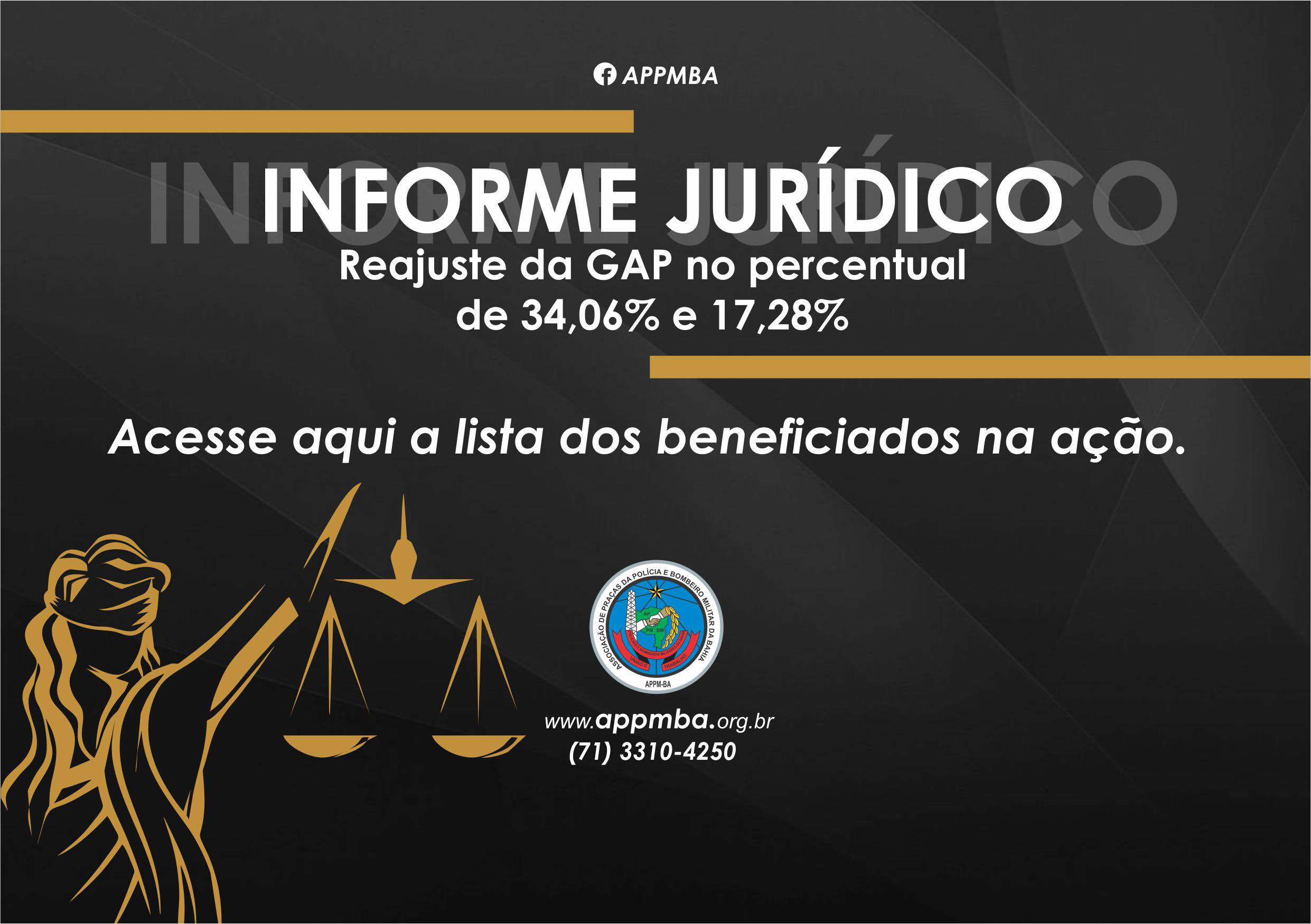 Reajuste da GAP no percentual de 34,06% e 17,28%